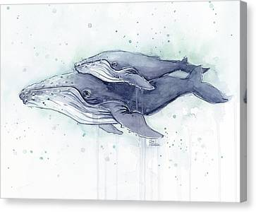 Humpback Whales Painting Watercolor - Grayish Version Canvas Print by Olga Shvartsur