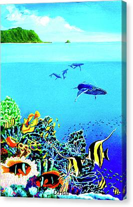 Humpback Whales, Reef Fish #252 Canvas Print by Donald k Hall