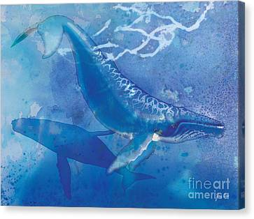 Whale Canvas Print - Humpback Whales by Tracy Herrmann