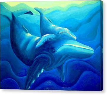 Humpback With Calf Canvas Print by Lynn Soehner