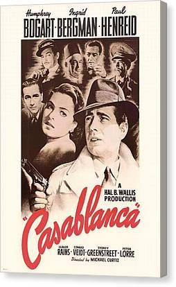Actress Canvas Print - Humphrey Bogard And Ingrid Bergman In Casablanca 1942 by Mountain Dreams