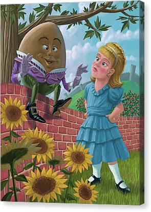 Humpty Dumpty On Wall With Alice Canvas Print by Martin Davey