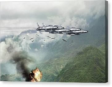 Hun Line Of Fire Canvas Print by Peter Chilelli