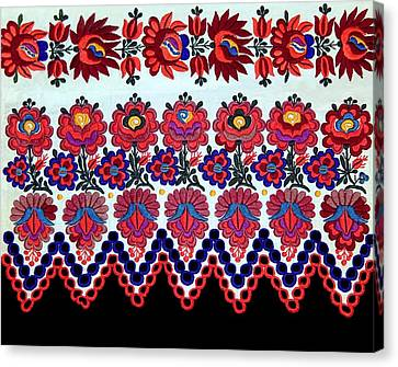 Hungarian Folk Art Embroidery From Sioagard Canvas Print by Andrea Lazar
