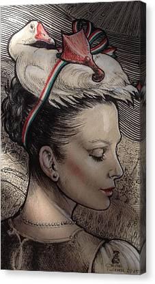 Hungarian Goose Canvas Print by Ottilia Zakany