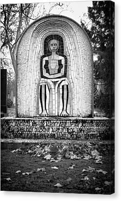 Hungarian Headstone Bw Canvas Print
