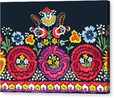 Hungarian Magyar Matyo Folk Embroidery Detail Canvas Print by Andrea Lazar