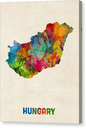Hungary Watercolor Map Canvas Print by Michael Tompsett
