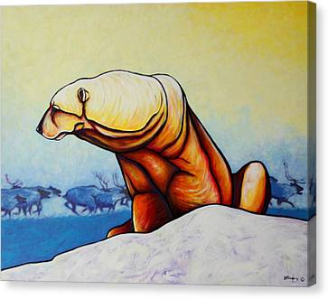 Snow-covered Landscape Canvas Print - Hunger Burns - Polar Bear And Caribou by Joe  Triano