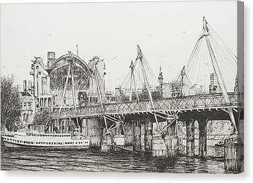 Yachts Canvas Print - Hungerford Bridge by Vincent Alexander Booth