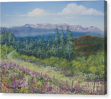Canvas Print featuring the painting Summer Flowers On Hungry Hill by Stanza Widen