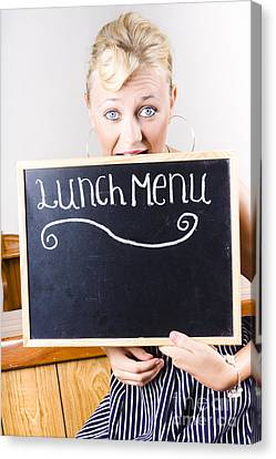 Hungry Woman Eating A Cafe Lunch Menu Canvas Print by Jorgo Photography - Wall Art Gallery