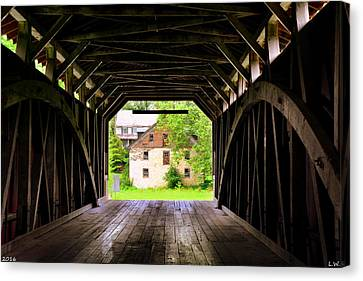 Hunsecker's Mill Covered Bridge Canvas Print by Lisa Wooten