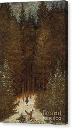 Hunter In The Forest  Canvas Print by Caspar David Friedrich