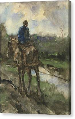 Towpath Canvas Print - Hunter On Horseback On The Towpath by Jacob Maris