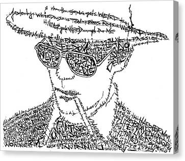 Hunter S. Thompson Black And White Word Portrait Canvas Print by Kato Smock