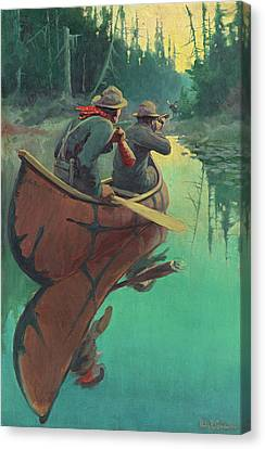 Hunters In A Canoe Canvas Print by Philip R Goodwin