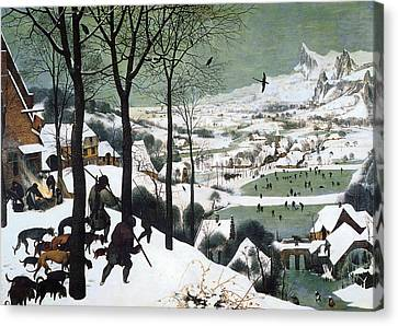 Hunters In The Snow Canvas Print by Pieter Bruegel