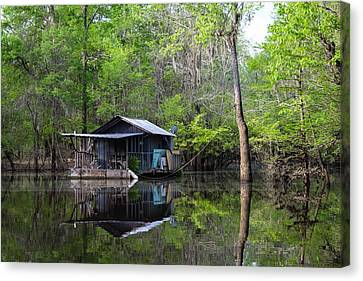 Hunting And Fishing Cabin Canvas Print