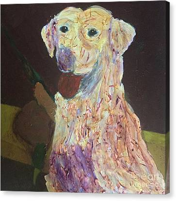 Canvas Print featuring the painting Hunting Dog by Donald J Ryker III