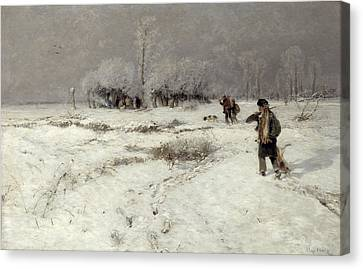 Hunting In The Snow Canvas Print by Hugo Muhlig