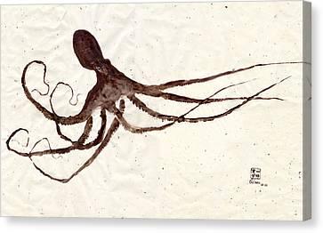 Hunting Octopus Gyotaku Canvas Print by Odessa Kelley