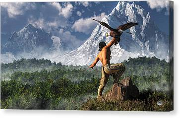 Hunting With An Eagle Canvas Print
