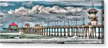 Canvas Print featuring the photograph Huntington Beach Winter 2017 by Jim Carrell