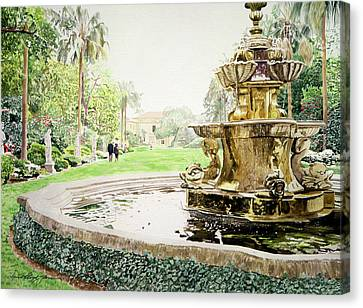 Huntington Fountain Morning Mist Canvas Print
