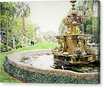 Huntington Fountain Morning Mist Canvas Print by David Lloyd Glover