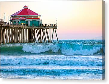 Canvas Print featuring the photograph Huntington Pier by Anthony Baatz