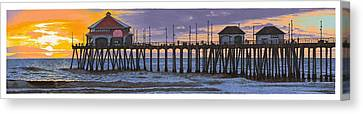 Huntington Pier Sunset Canvas Print by Andrew Palmer