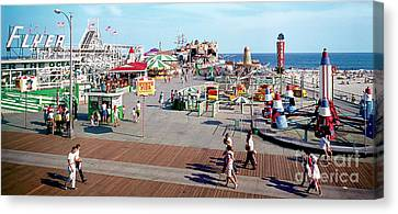 Amusements Canvas Print - Hunts Pier In The 1960's, Wildwood Nj Sixties Panorama Photograph. Copyright Aladdin Color Inc. by Retro Views