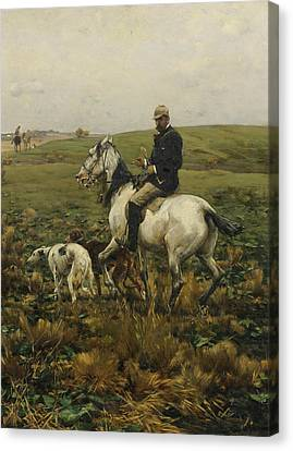 Huntsman With Hounds Canvas Print by Alfred Kowalski