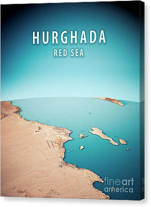 Hurghada 3d Render Satellite View Topographic Map Vertical Canvas Print by Frank Ramspott