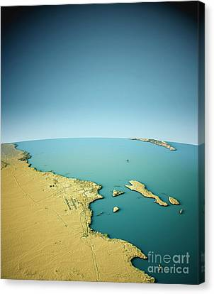 Hurghada 3d View South-north Natural Color Canvas Print
