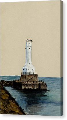 Huron Harbor Lighthouse Canvas Print by Michael Vigliotti