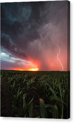 Canvas Print featuring the photograph Huron Lightning  by Aaron J Groen