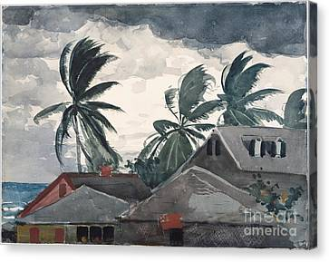 Hurricane In Bahamas Canvas Print by Winslow Homer