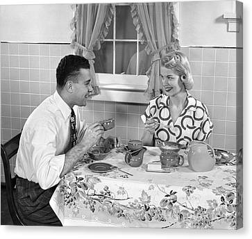 Husband And Wife Eating Breakfast Canvas Print by H. Armstrong Roberts/ClassicStock