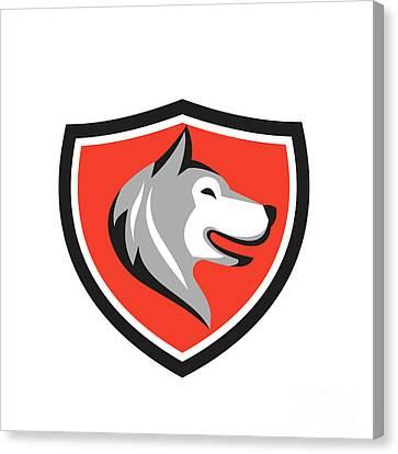 Husky Canvas Print - Husky Dog Head Shield Retro by Aloysius Patrimonio