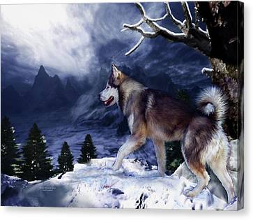 Husky - Mountain Spirit Canvas Print by Carol Cavalaris
