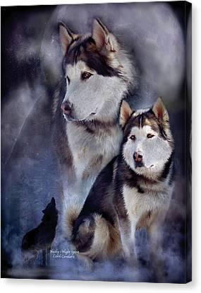 Husky - Night Spirit Canvas Print by Carol Cavalaris