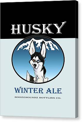 Huskies Canvas Print - Husky Winter Ale by John LaFree