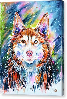 Canvas Print featuring the painting Husky by Zaira Dzhaubaeva