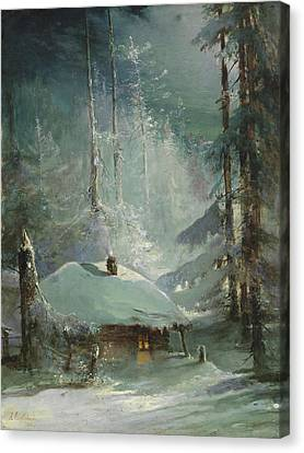 Hut In A Wintry Forest By Alexei Savrasov 1888 Canvas Print