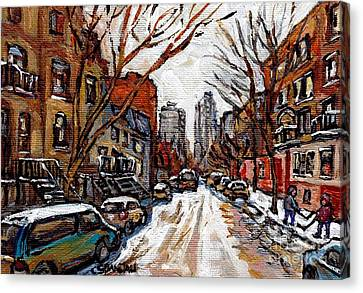Hutchison At Prince Arthur Montreal Street Scene Painting Toward Downtown Kids Playing Hockey  Canvas Print
