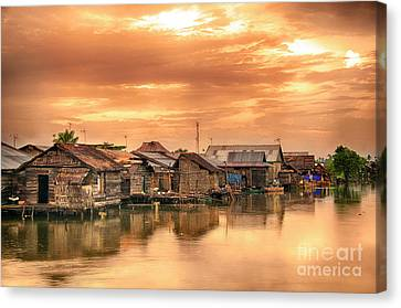 Canvas Print featuring the photograph Huts On Water by Charuhas Images