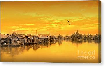 Canvas Print featuring the photograph Huts Yellow by Charuhas Images
