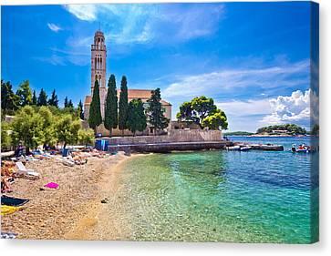 Hvar Island Turquoise Beach And Stone Church Canvas Print